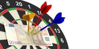 3d het teruggeven pijltjes en euro op doel op witte achtergrond Stock Foto
