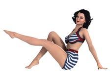 3D het Teruggeven Pinup Meisje op Wit Royalty-vrije Stock Foto
