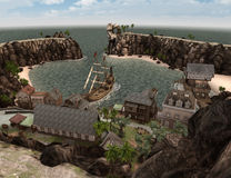 3D het Teruggeven Piraatschat Islnad Royalty-vrije Stock Foto