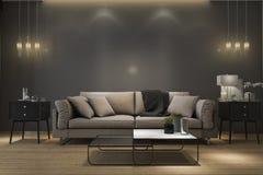 3d het teruggeven retro luxebank in minimale zwarte woonkamer met lamp Royalty-vrije Stock Afbeeldingen