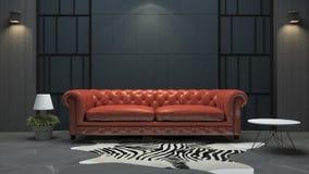 3d het teruggeven rode leerbank in de woonkamer van de zolderstijl Stock Fotografie