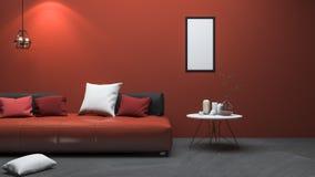 3d het teruggeven rode moderne stijlwoonkamer met aardig decor stock illustratie