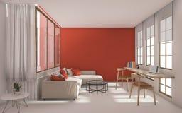 3d het teruggeven rode moderne woonkamer met daglicht van venster Stock Foto's
