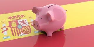 3d het teruggeven roze spaarvarken op de vlag van Spanje Royalty-vrije Stock Afbeelding