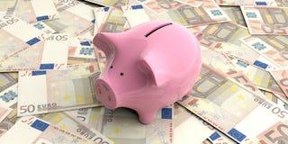 3d het teruggeven roze spaarvarken op 50 euro bankbiljetten Stock Fotografie