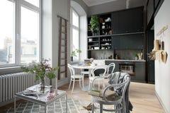 3D het Teruggeven ruimte van de huis binnen keuken geen mensenhoogtepunt - mening royalty-vrije stock afbeeldingen