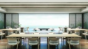 3D het Teruggeven ruimte van Dinning van de Strandvilla Royalty-vrije Stock Afbeeldingen