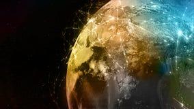 3D het teruggeven samenvatting van wereldnetwerk, Internet en globaal verbindingsconcept royalty-vrije illustratie
