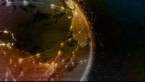 3D het teruggeven samenvatting van wereldnetwerk, Internet en globaal verbindingsconcept vector illustratie