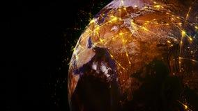 3D het teruggeven samenvatting van wereldnetwerk, Internet en globaal verbindingsconcept stock illustratie