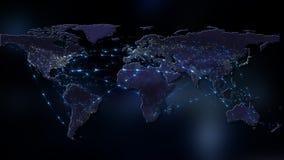3D het teruggeven samenvatting van wereldnetwerk, Internet en globaal verbindingsconcept Elementen van dit die beeld door NASA wo Royalty-vrije Stock Fotografie