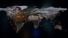 3D het teruggeven samenvatting van wereldnetwerk, Internet en globaal verbindingsconcept Elementen van dit die beeld door NASA wo Royalty-vrije Stock Afbeelding
