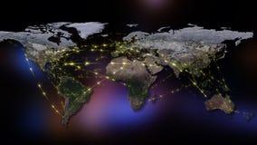 3D het teruggeven samenvatting van wereldnetwerk, Internet en globaal verbindingsconcept Elementen van dit die beeld door NASA wo Stock Foto's