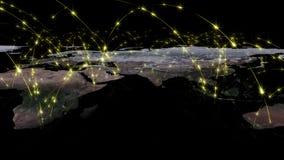 3D het teruggeven samenvatting van wereldnetwerk, Internet en globaal verbindingsconcept Elementen van dit die beeld door NASA wo Stock Fotografie