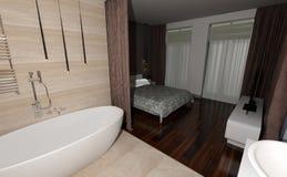 3D het Teruggeven Slaapkamer en Badkamersbinnenland Stock Foto's