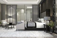 3d het teruggeven slaapkamer van de luxereeks in hotel dichtbij glasbadkamers Stock Foto