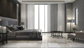 3d het teruggeven slaapkamer van de luxereeks in hotel dichtbij glasbadkamers Stock Afbeeldingen