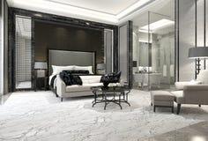 3d het teruggeven slaapkamer van de luxereeks in hotel dichtbij glasbadkamers Stock Foto's