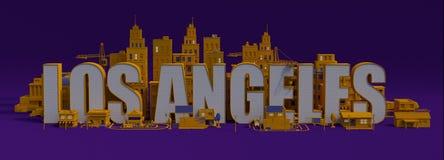 3d het teruggeven stad met gebouwen, het van letters voorzien van Los Angeles naam royalty-vrije illustratie