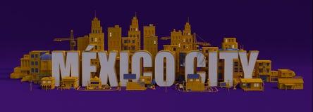3d het teruggeven stad met gebouwen, het van letters voorzien van Mexico-City naam Stock Illustratie