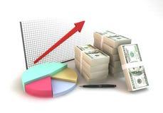 3d het teruggeven stapel van de 100 dollarrekening met kleurrijke bedrijfspastei Royalty-vrije Stock Foto's