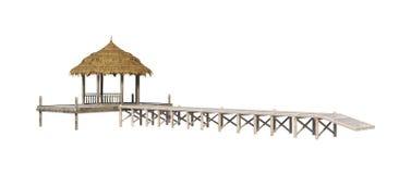 3D het Teruggeven Strand Pavillion op Wit Royalty-vrije Stock Foto's