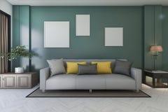 3d het teruggeven uitstekende groene woonkamer met bank en installatie en omlijsting Stock Foto