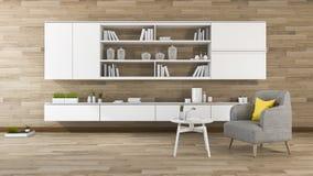 3d het teruggeven uitstekende houten muurwoonkamer met ingebouwde plank Royalty-vrije Stock Foto's