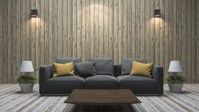 3d het teruggeven uitstekende houten muurwoonkamer met kleurrijke bank Royalty-vrije Stock Afbeelding