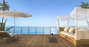 3d het teruggeven uitstekende rotanbank op houten terras dichtbij overzees in de zomer Stock Afbeeldingen