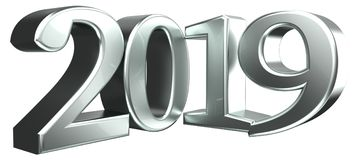 3d het teruggeven van 2019 zilveren metaal Stock Foto's