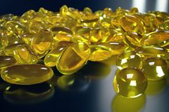 3D het Teruggeven Vistraan Omega 3, Omega 6, Omega 9, vitamine D Stapel van capsules Omega 3 op zwarte achtergrond, Kabeljauwleve Royalty-vrije Illustratie