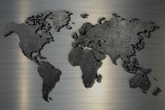 3d het teruggeven Wereldkaart van oud gekrast metaal met klinknagels vector illustratie