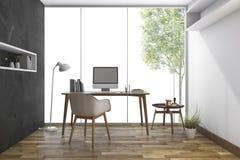 3d het teruggeven werkende ruimte met aardige mening van venster Royalty-vrije Stock Foto's