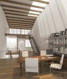 3d het teruggeven werkende studio met daglicht en schaduw van dak Stock Afbeelding