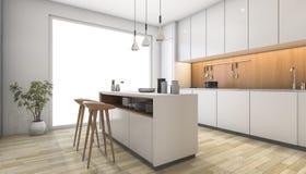 3d het teruggeven witte moderne keuken met houten bar Stock Fotografie