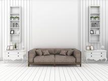 3d het teruggeven witte moderne muurwoonkamer met klassieke decoratie stock illustratie