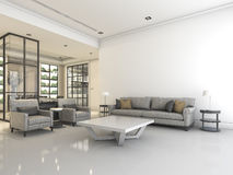 3D het teruggeven witte woonkamer met bank en leunstoel bijvoorbeeld van meubilairsamenstelling en goede ontwerpbank en leunstoel Stock Foto's