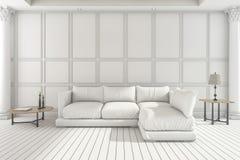 3d het teruggeven witte zachte bank in klassieke woonkamer Stock Fotografie