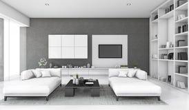 3d het teruggeven witte zolderwoonkamer met bank en boekenrek Royalty-vrije Stock Afbeelding
