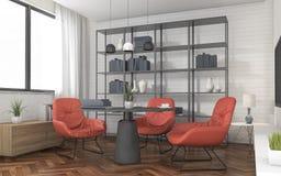 3d het teruggeven woonkamer van de zolderstijl met rode stoel en houten vloer Stock Foto's