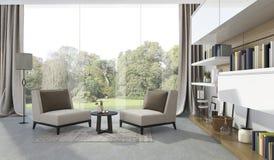 3d het teruggeven zachte leunstoel in woonkamer dichtbij tuin Royalty-vrije Stock Fotografie