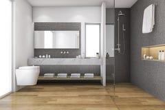 3d het teruggeven zolderhout en badkamers van het steendecor dichtbij venster vector illustratie