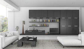 3d het teruggeven zwarte bouwde plank en bank bed in woonkamer in Royalty-vrije Stock Foto's