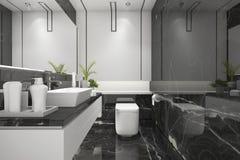 3d het teruggeven zwarte moderne zolderbadkamers met het decor van de luxetegel stock illustratie