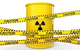 3d het vat en de voorzichtigheidslinten van het stralingensymbool Stock Afbeeldingen