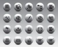 3d het Web en het bureaupictogrammen van Grey Balls Stock Vector in hoge resolutie Stock Afbeeldingen