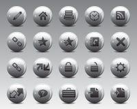 3d het Web en het bureaupictogrammen van Grey Balls Stock Vector in hoge resolutie Stock Afbeelding