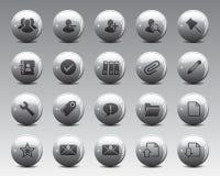 3d het Web en het bureaupictogrammen van Grey Balls Stock Vector in hoge resolutie Stock Fotografie
