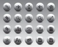 3d het Web en het bureaupictogrammen van Grey Balls Stock Vector in hoge resolutie Stock Foto